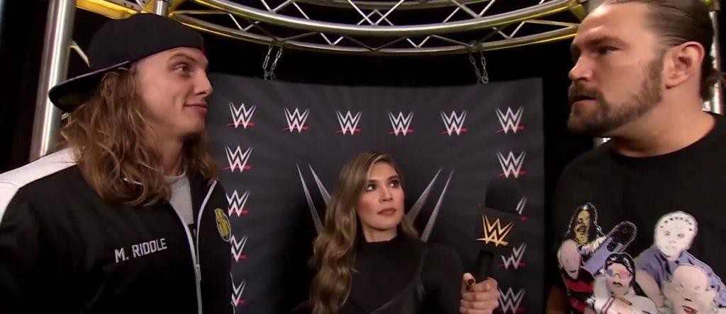 Matt Riddle, Cathy Kelley, Kassius Ohno (source: WWE)