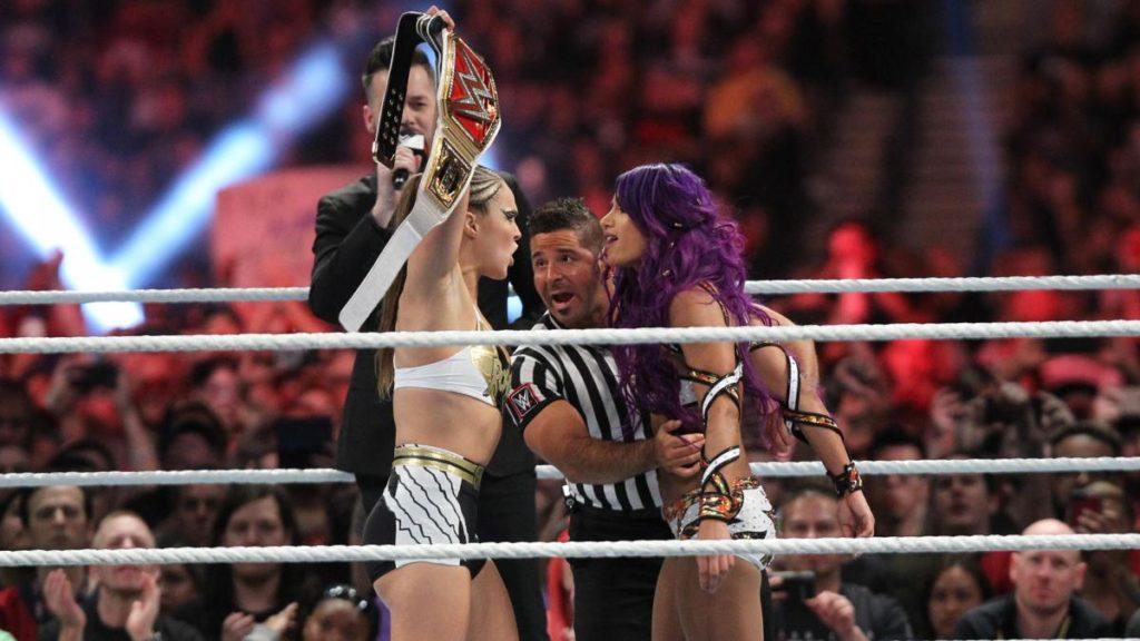 Ronda Rousey, Sasha Banks (source: WWE)