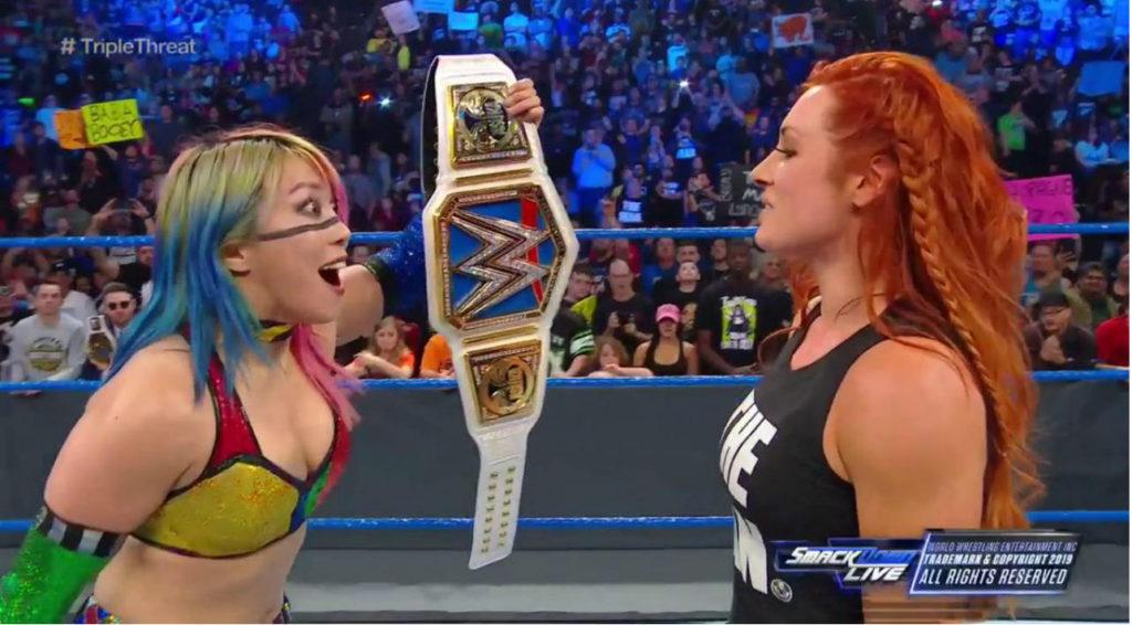 Asuka, Becky Lynch (source: WWE)