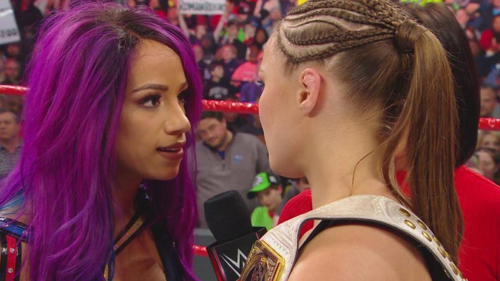 Sasha Banks, Ronda Rousey (source: WWE)