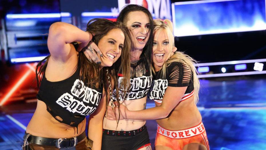 The Riott Squad (Sarah Logan, Ruby Riott, Liv Morgan) (source: WWE)