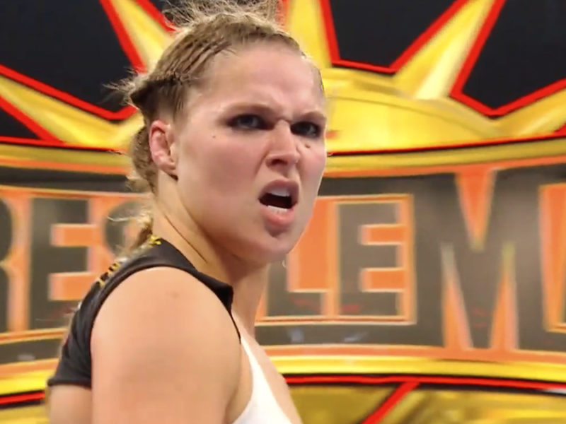 Ronda Rousey scowling at the Riott Squad