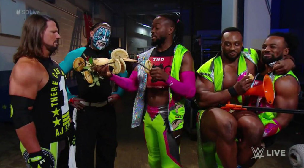 AJ Styles, Jeff Hardy, The New Day (Kofi Kingston, Big E, Xavier Woods) (source: WWE)