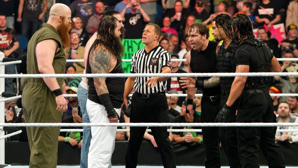 The Wyatt Family (Erick Rowan, Bray Wyatt, Luke Harper), The Shield (Dean Ambrose, Roman Reigns, Seth Rollins)