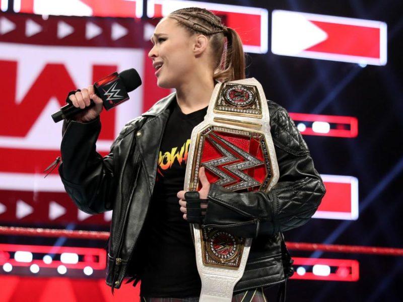 Ronda Rousey cutting a WWE RAW promo