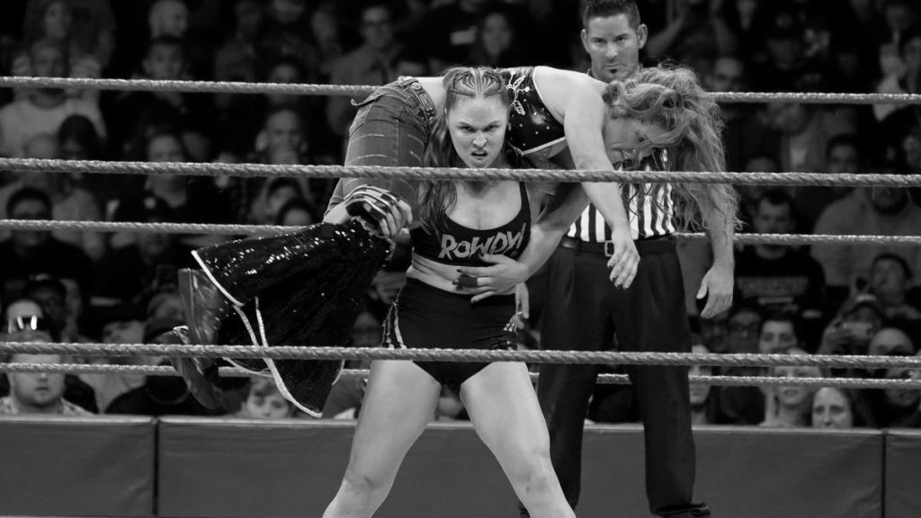 Mickie James, Ronda Rousey (source: WWE)