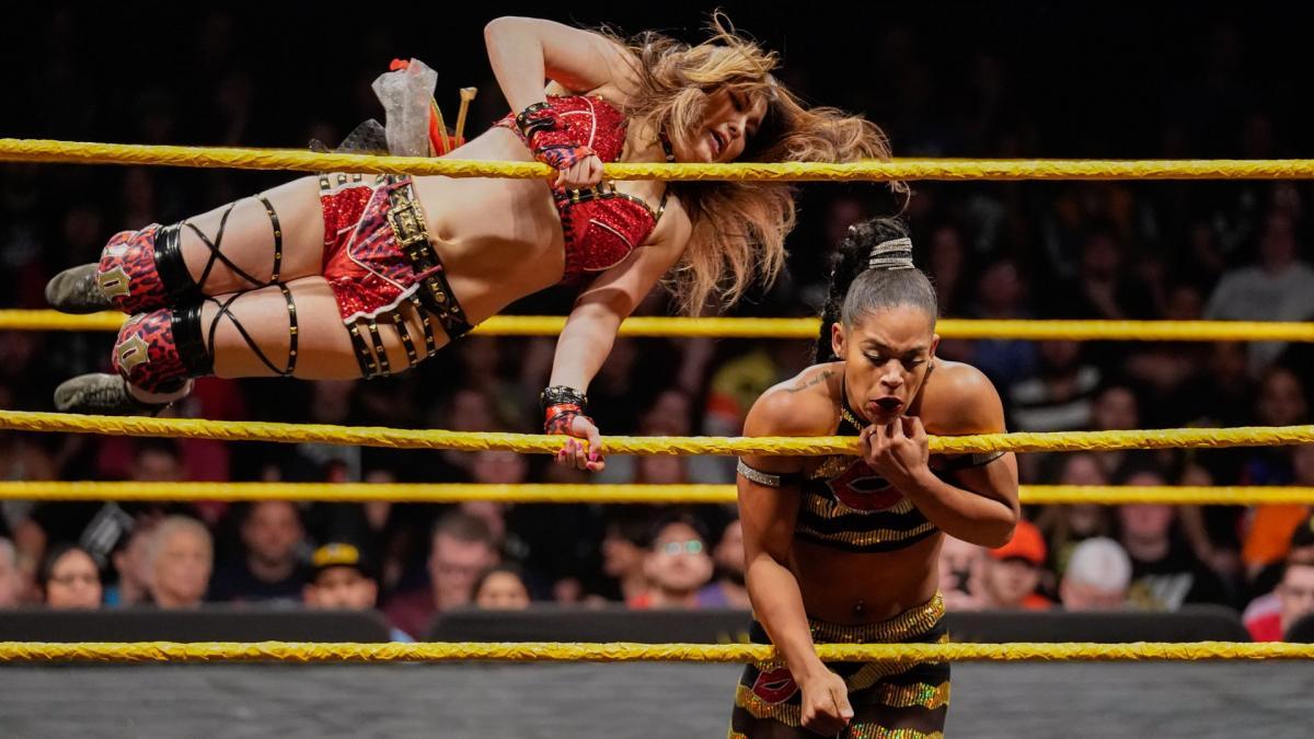 Io Shirai and Bianca Belair on NXT