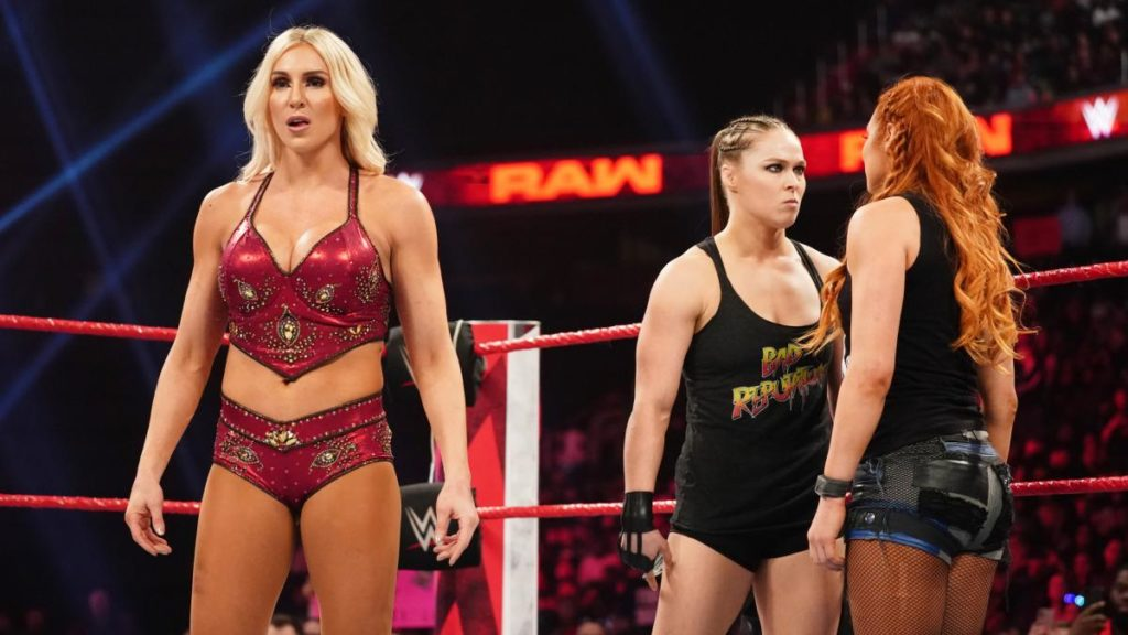 Charlotte Flair, Ronda Rousey, Becky Lynch (source: WWE)