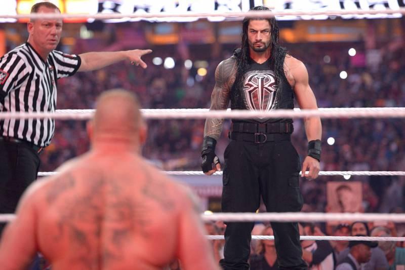 Brock Lesnar, Roman Reigns (source: WWE)