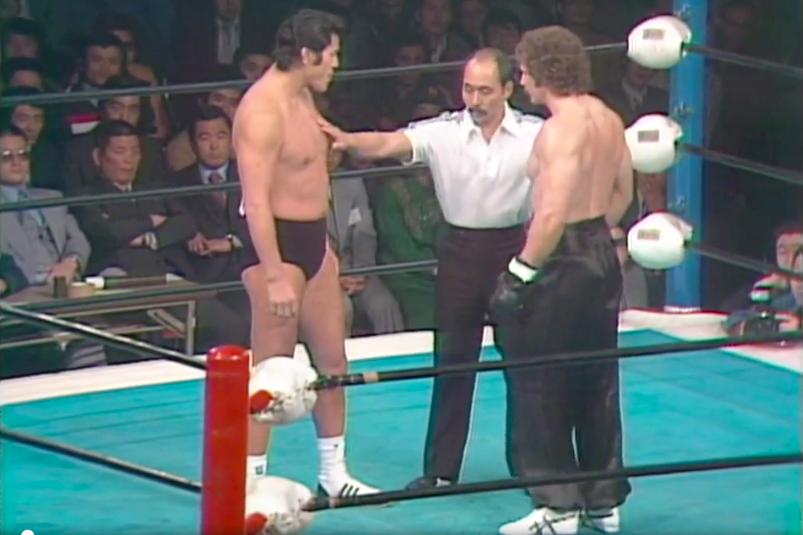 "Antonio Inoki, ""Left Hook"" Mike Dayton (source: NJPW)"
