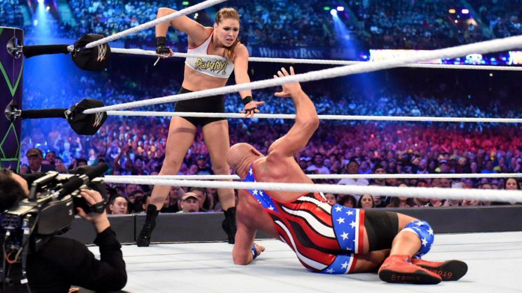 Ronda Rousey, Kurt Angle (source: WWE)