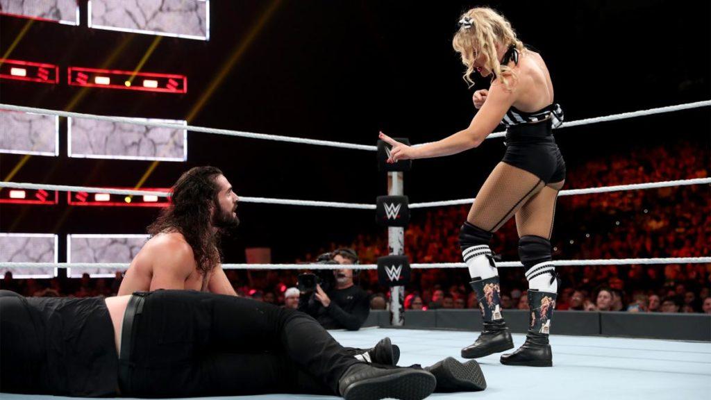 Baron Corbin, Seth Rollins, Lacey Evans (source: WWE)