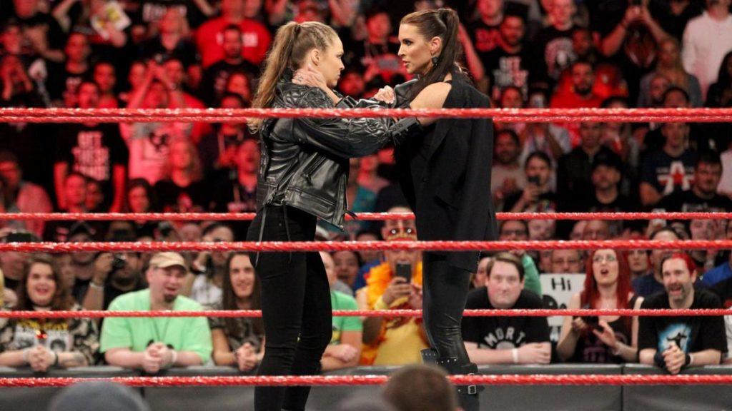 Ronda Rousey, Stephanie McMahon (source: WWE)