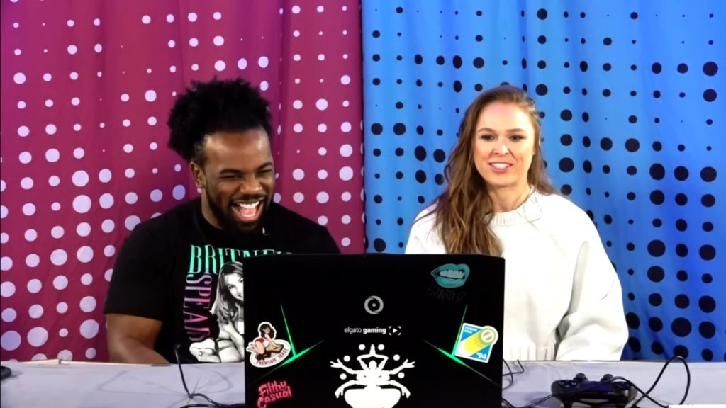 Xavier Woods, Ronda Rousey (source: UpUpDownDown YouTube channel)