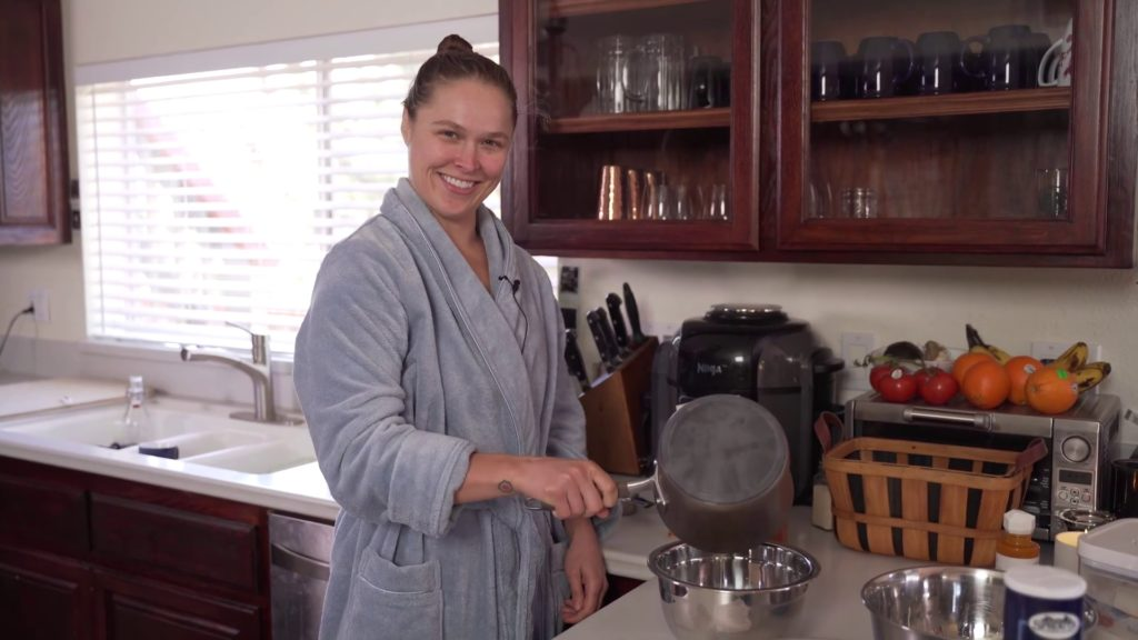 Ronda Rousey, in her kitchen
