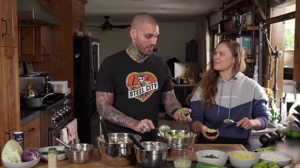 Corey Graves and Ronda Rousey, in Ronda's kitchen