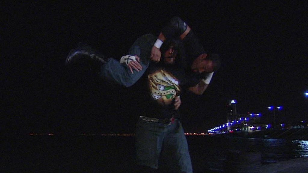CM Punk, preparing to hit Chavo Guerrero with the GTG: the Go to Gulf. (source: WWE)