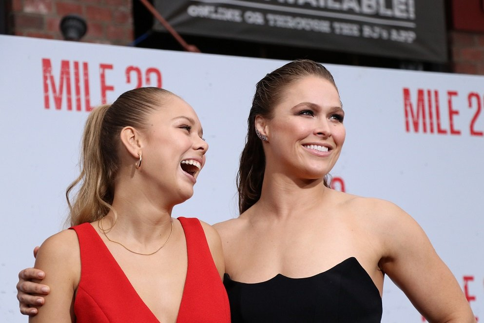 """""""Ok, cool."""" Why yes, it is cool to see Ronda Rousey bring her little sister Julia to the premiere of 'Mile 22'"""