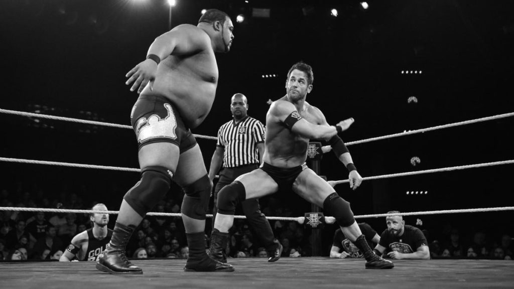 Roderick Strong, chopping it up with Keith Lee (source: WWE)