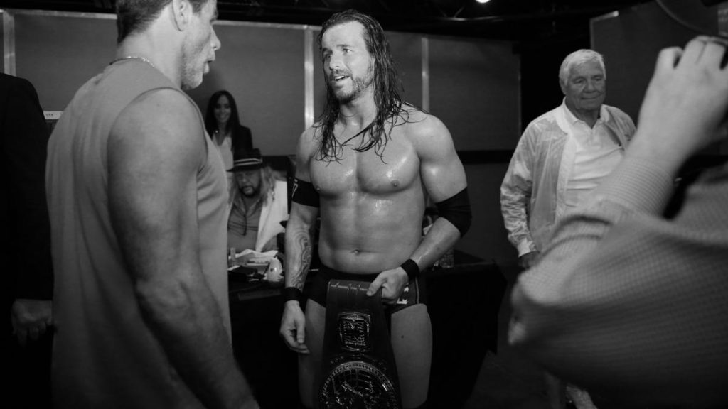 WWE Hall of Famer (and NXT producer) Shawn Michaels and Adam Cole chat post-inaugural North American Championship match at NXT TakeOver: New Orleans (source: WWE)